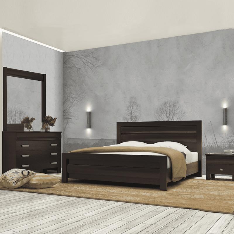 חדר שינה עץ כהה