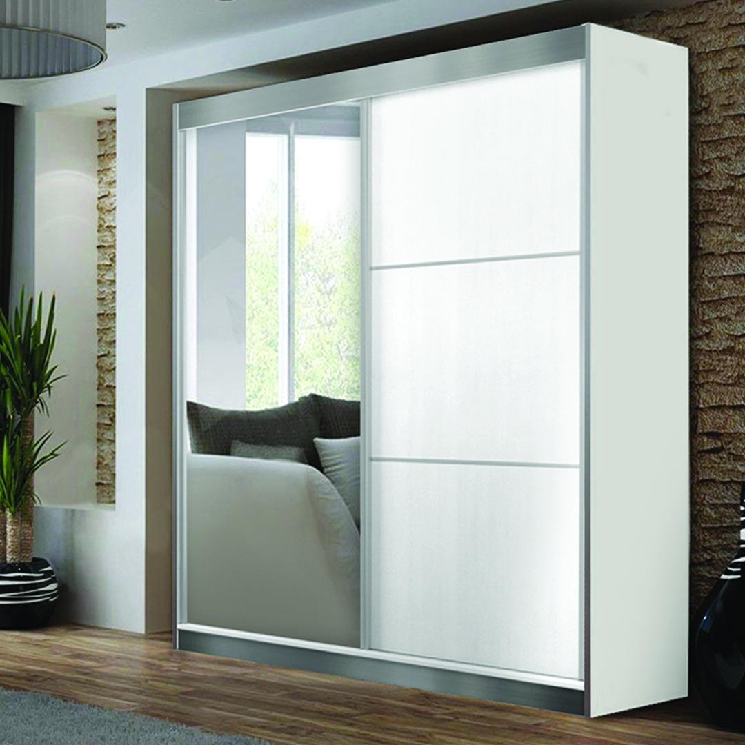 שונות ארון הזזה צבר בצבע לבן דלת מראה מתנה - צומת רהיטים TM-54