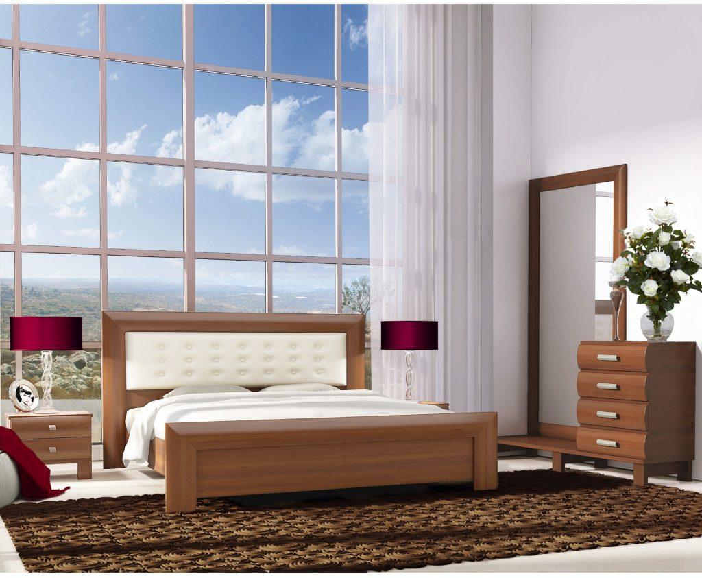 חדר שינה בצבע מהגוני