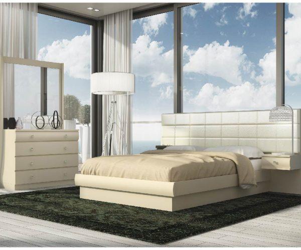 חדר שינה בצבע קרם