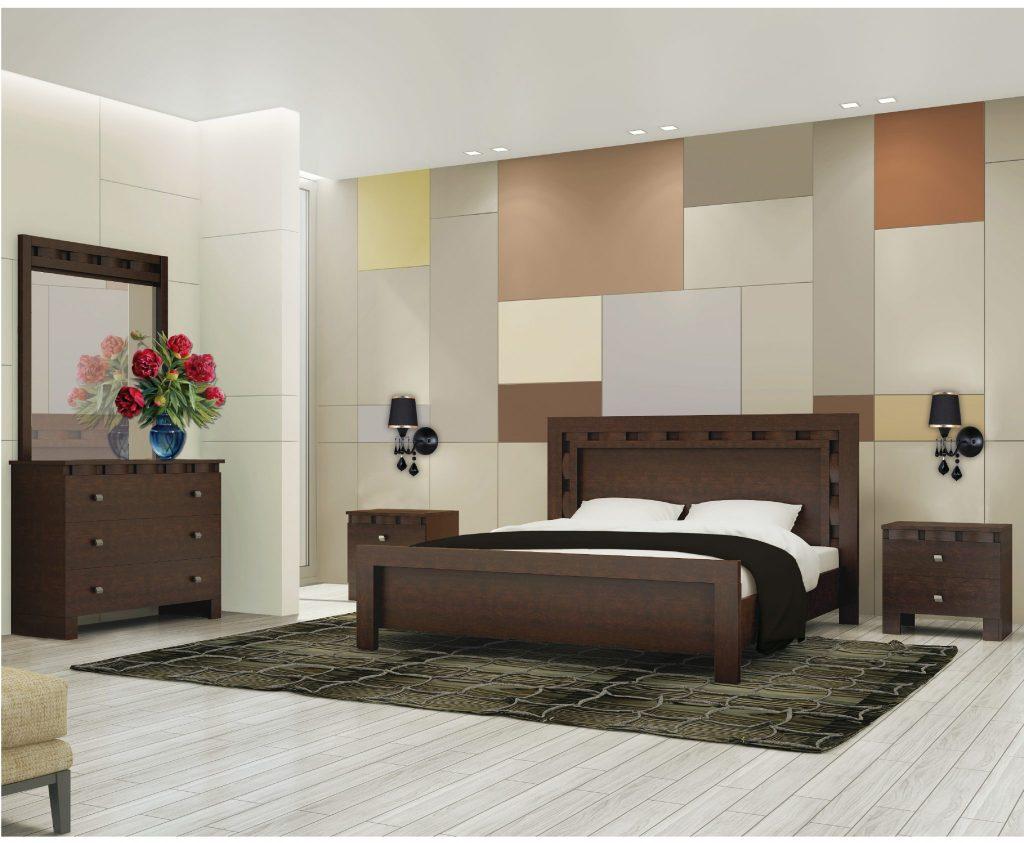 חדר שינה בצבע חום