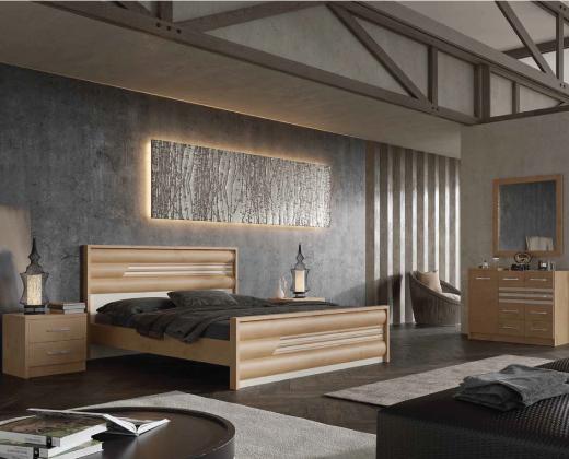 חדר שינה בצבע עץ